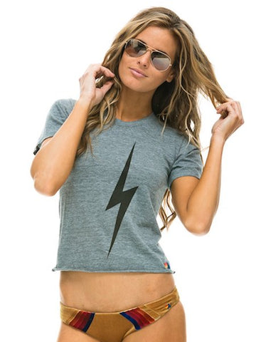 Bolt Boyfriend Tee in Heather Grey, AVIATOR NATION - VALLEY TRIBECA