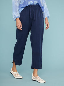 Drawstring Trouser in Navy, RAQUEL ALLEGRA - VALLEY TRIBECA