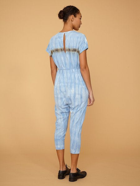 Tie Dye Jumpsuit in Blue Stripes, RAQUEL ALLEGRA - VALLEY TRIBECA