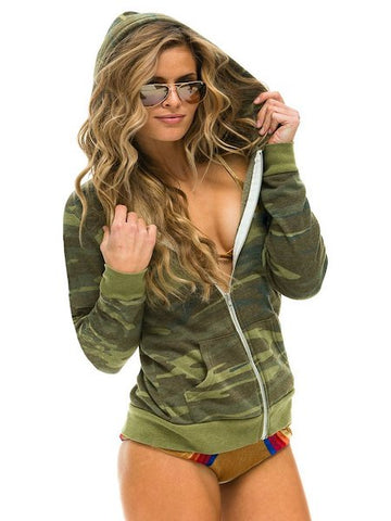 Zip Hoodie with Bolt in Camo