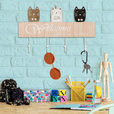 "Wall Mounted Coat Rack with 4 hanging hooks. 16"" Long, Cat Themed, Ready to Hang"