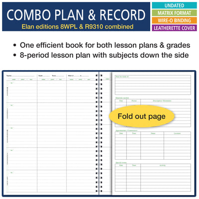 "Combination WIDE Plan and Record Book: One Efficient 8-1/2"" X 11"" Book for Lesson Plans and Grades Combines 8WPL and R9310 - (WC-8)"