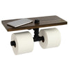 Industrial Toilet Paper Double Roll Holder with Wooden Shelf and Cast Iron Pipe