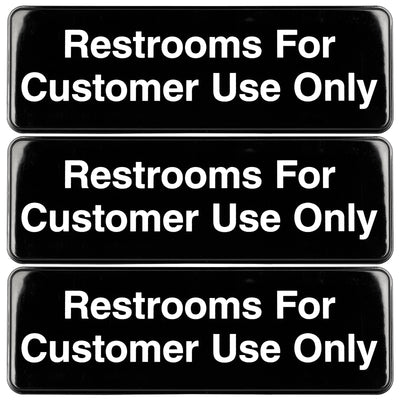 Restrooms for Customer Use Sign: Easy to Mount with Symbols 9x3, 3-Pack (Black)