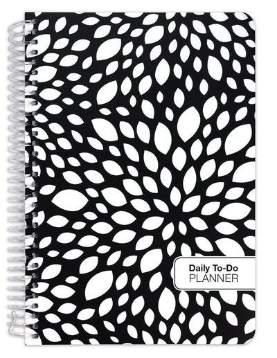 "Fashion ""To Do"" Set - 184 Pages, 5.5"" x 8.5"" ""To Do"" Planner (+) Bonus Clip-in Bookmark (+) 3.5"" x 6.5"" Bonus Journal (Black Floral)"