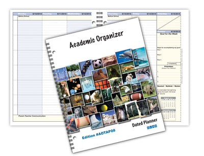 "Student Academic Organizer 8 1/2 x 11"" Weekly View; Dated for 2017-2018 Academic Year (AOTAP-Dated)"