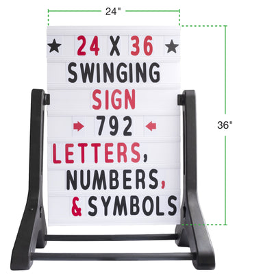 Swinging Changeable Message Sidewalk Sign: 24x36 with 792 Double Sided Letters
