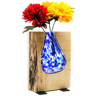 "Blue Stained Glass and Wood Vase - Rustic Flower Vase (Short - 8"" x 6"")"