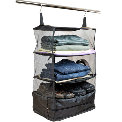 Collapsable Portable Hanging Storage Organizer With Zippered Compartment