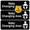 Baby Changing Station Sign: Easy to Mount with Symbols 9x3, Pack of 3 (Black)