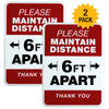 "Please Stand 6 Feet Apart Sign: 5""x7"" Plastic Sign for Businesses with Easy Mount Adhesive Strips (Pack of 2)"
