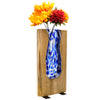 "Blue Stained Glass and Wood Vase - Rustic Flower Vase (Tall - 13.75"" x 6.75"")"