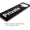 Private Sign for Doors: Plastic Sign with Symbols 9x3, Pack of 3 (Black)
