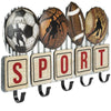 Metal Sports Coat Rack with 5 Hooks: Vintage Sports Decorative Wall Mounted