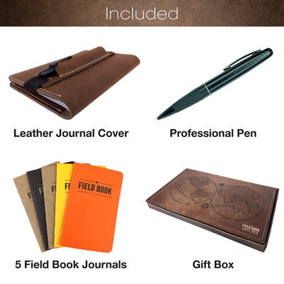 Handcrafted Stitched Leather Journal Notebook Cover Set with Pen & 5 Journals