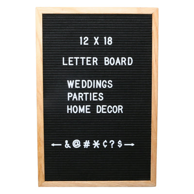 Felt Letter Board 12x18 with 300 Letters - Black