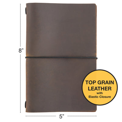 "Handcrafted Top Grain Leather Journal Notebook Cover with 5 Journals (5""x8"")"