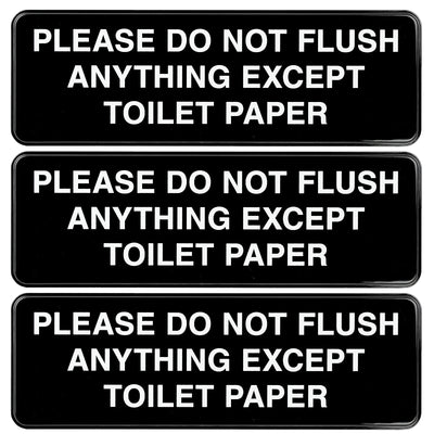 "Please Do Not Flush Paper Towels or Femine Products Sign, 9""x3"", 3 Pack (Black)"