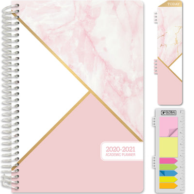 "HARDCOVER Academic Year 2020-2021 Planner 5.5""x8"" (Pink Marble Triangles)"