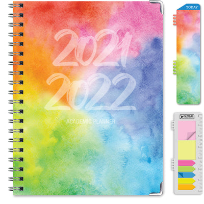 2021-2022 - Hardcover Planner - RAINBOW WATERCOLORS