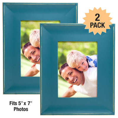"Modern Rustic Wooden Frame: Holds 5""x7"" Photo Black Picture Frame (Pack of 2) - EGP-HD-0227"