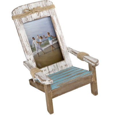 Nautical Beach Chair Photo Frame: 4x6 Vertical Photo for Tabletop Display