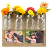 Rustic Photo Frame with 4 Mason Jar Flower Pots: Displays Two 5x7  Photos