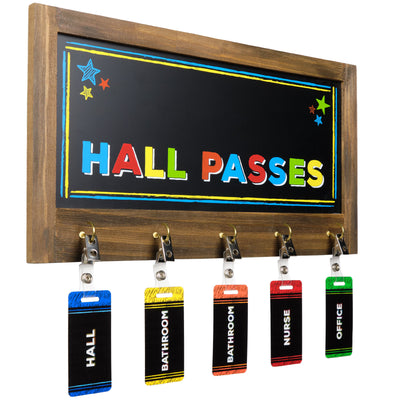 5 PVC Hall Passes with Chalkboard Holder