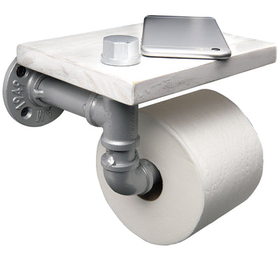 Industrial Toilet Paper Holder With Rustic Wooden Shelf And Cast Iron Pipe