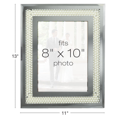 Glass Mirror Picture Photo Frame with Accent Pearl Border