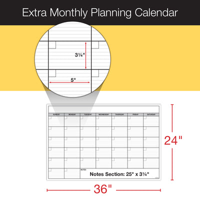 "Giant Dry Erase Laminated Calendar for Wall Yearly Monthly 40""x60"""