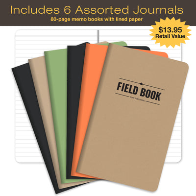 "Handcrafted Top Grain Leather Journal Notebook Cover: INCLUDES 6 BONUS Refillable Field Note Book Journals / Compatible with Field Notes and Moleskine Cahier Notebook (5""x8"" - Medium)"