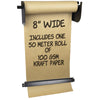 "Wall Mounted Kraft Paper Dispenser & Cutter: with Kraft Paper Roll (8"" Wide)"