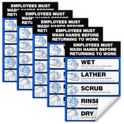"Employee Must Wash Hand Sign: 5""x7"" Plastic Vinyl Label Self Adhesive (P5-Pack)"