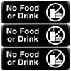 No Food or Drink Sign: Easy to Mount with Symbols 9x3, Pack of 3 (Black)