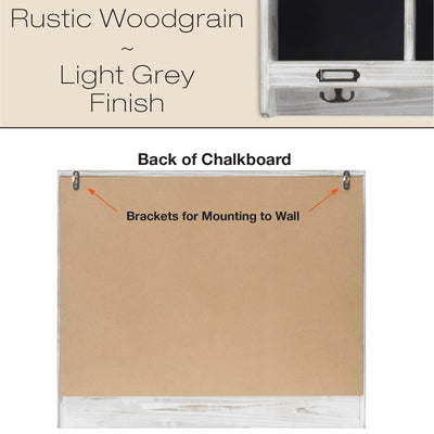 "Grey Wooden Wall Mounted Hanging Entryway Shelf with Chalkboard with Chalkboard & 3 double hooks. 20""x24"" Use as coat rack, hat organizer, key holder in Mudroom, Kitchen, Bathroom, Hallway, Foyer"