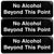 No Alchohol Beyond This Point Sign: Easy to Mount 9x3, Pack of 3 (Black)