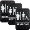 Plastic Restroom Sign: Easy to Mount with Braille (ADA Compliant), Pack of 3