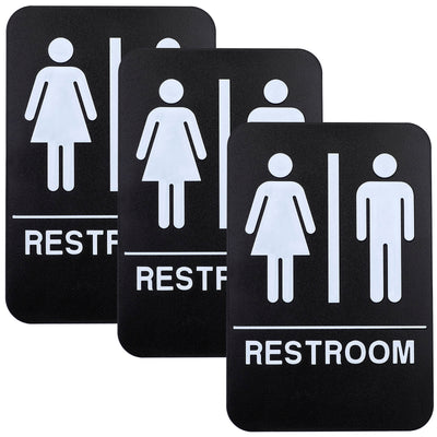 "Plastic Restroom Sign: With Braille (ADA Compliant)- 6""x9"" Pack of 3"