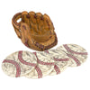 Baseball Coasters Set: Includes 4 Baseball Ceramic Coasters & Glove Holder