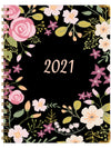 "HARDCOVER Calendar Year 2021 Planner: (November 2020 Through December 2021) 5.5""x8"" Daily Weekly Monthly Planner Yearly Agenda. Bonus Bookmark, Pocket Folder and Sticky Note Set (Black Floral)"
