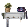 "Hand Painted Wooded Wall Mounted Hanging Shelf with 6 hooks. 24""x6"""