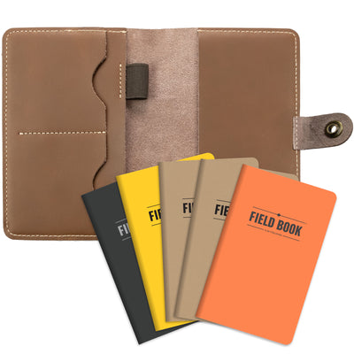 Leather Travel Wallet Passport Holder with RFID Blocking includes 5 Journals