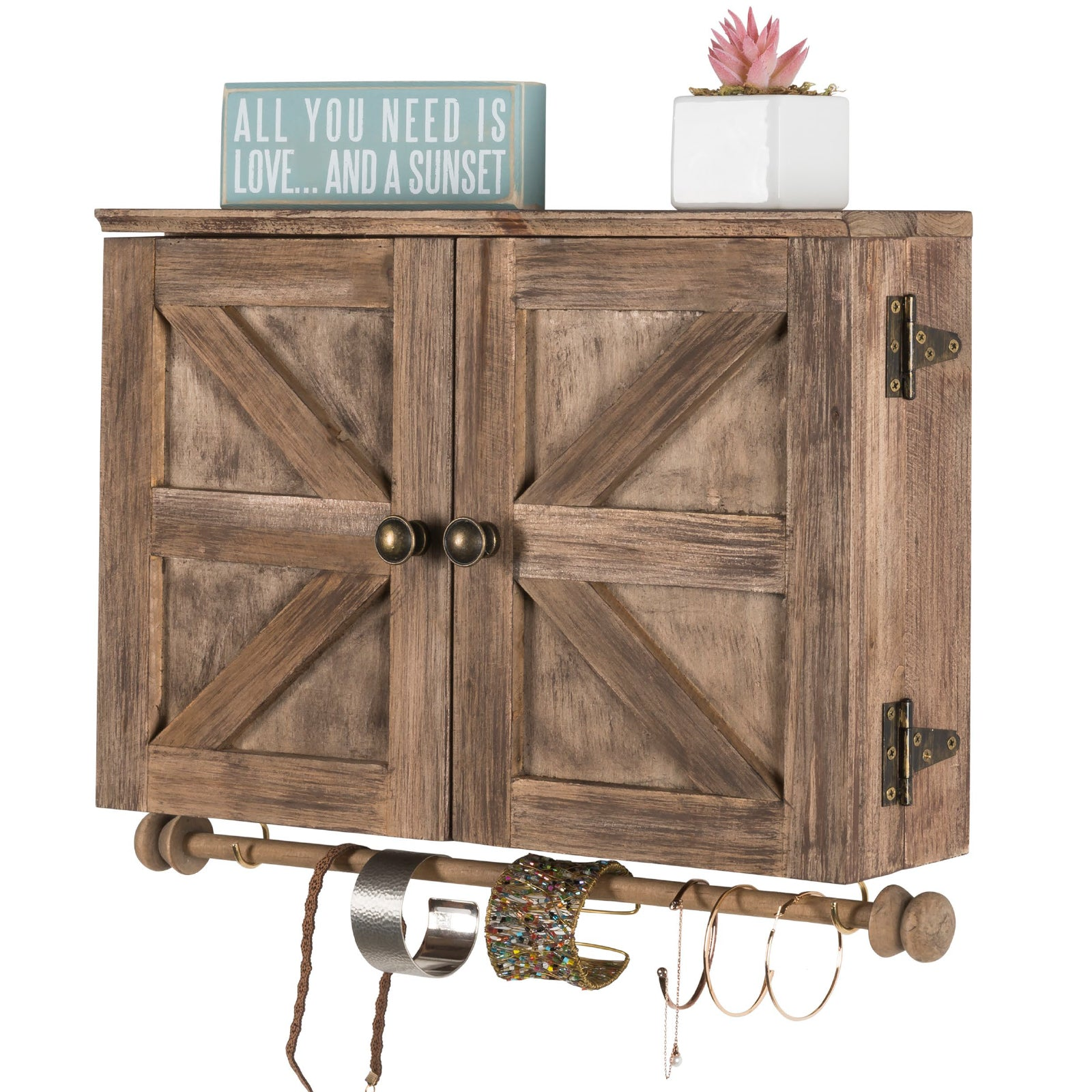 Rustic Wall Mounted Jewelry Organizer with Wooden Barndoor Decor Brown