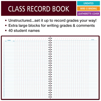 Class Record Book Unstructured...set it up to record grades your way! 40 student names (Excello)