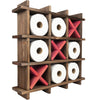 Rustic Wooden Toilet Paper Holder: Tic Tac Toe Design Tissue Roll Storage