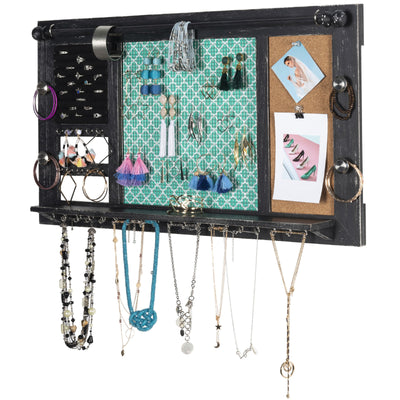 "Large Rustic Wall Mounted Jewelry Organizer: 28""x16"""