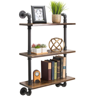 "3-Tier Rustic Wooden Wall Floating Shelf Display 24""x36"" With Iron Pipe"