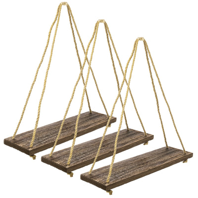 "Rustic Distressed Wood Hanging Shelves 17"" with Swing Rope"
