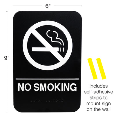 "No Smoking Room Sign: Easy to Mount 6""x9"", Pack of 3"